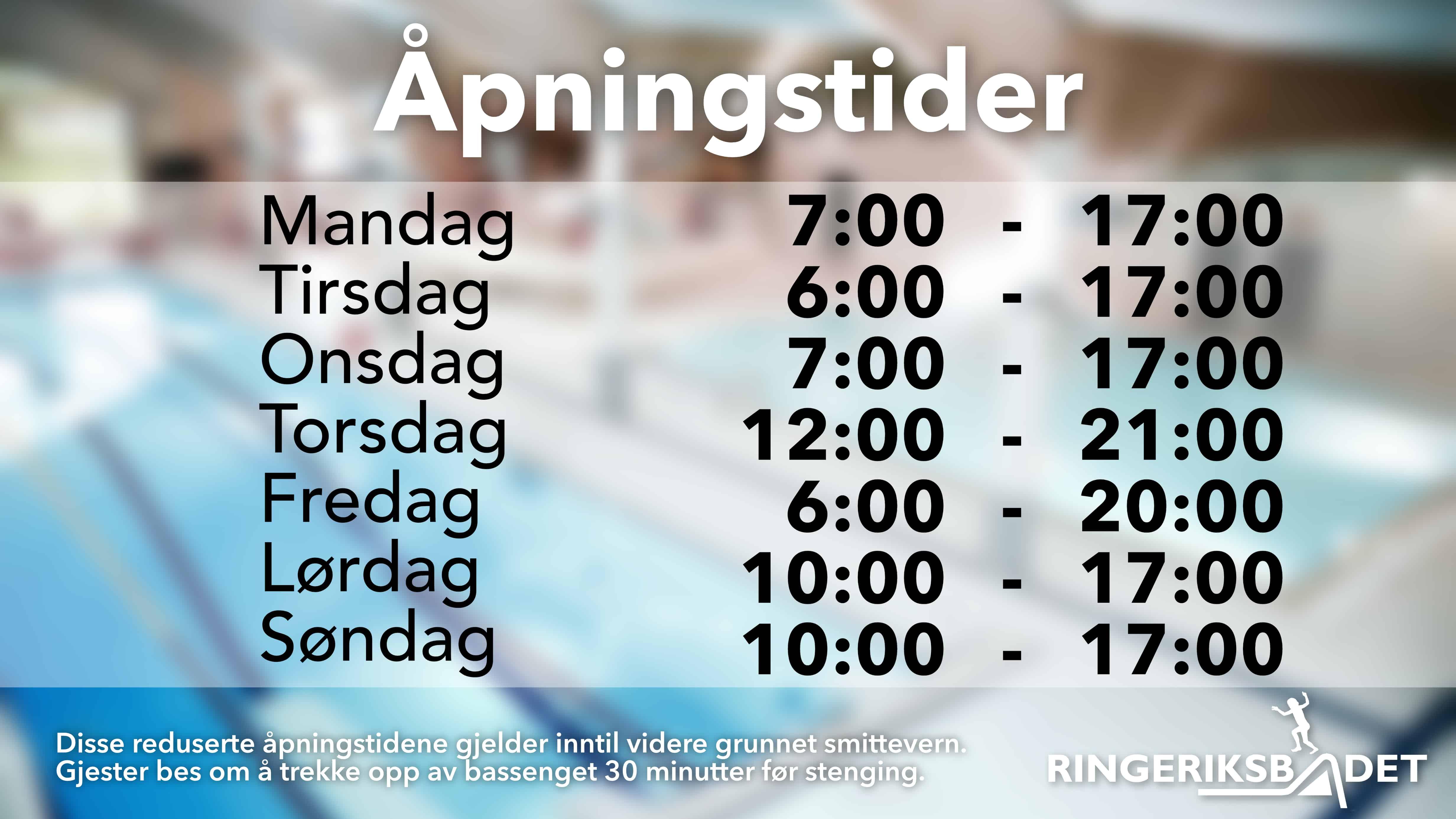 Nye åpningstider fra tirsdag 18. august