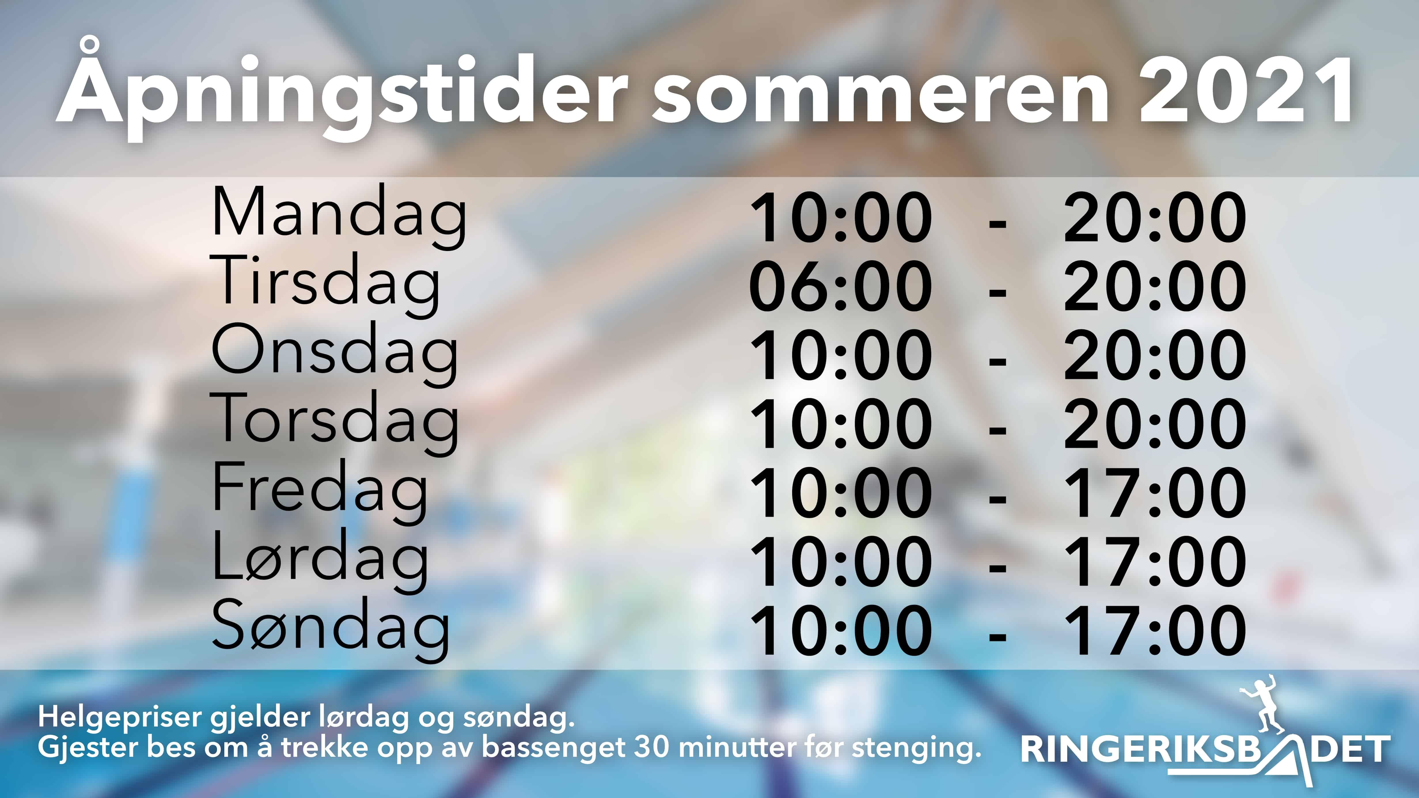 Sommerens åpningstider fra 28. juni – 15. august