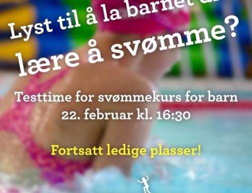 Testtime til svømmekurs for barn – meld deg på nå!
